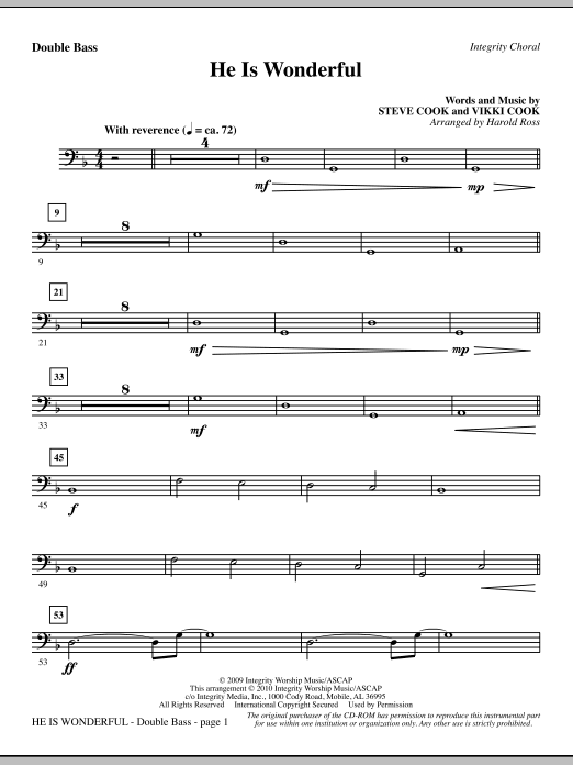 Harold Ross He Is Wonderful - Double Bass sheet music notes and chords. Download Printable PDF.