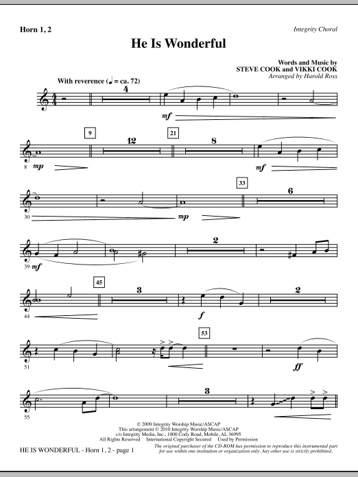 Harold Ross He Is Wonderful - F Horn 1,2 sheet music notes and chords. Download Printable PDF.