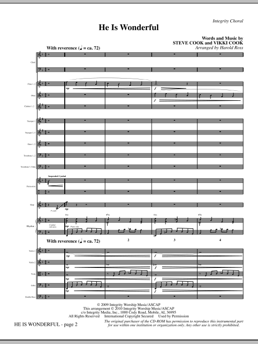 Harold Ross He Is Wonderful - Full Score sheet music notes and chords. Download Printable PDF.