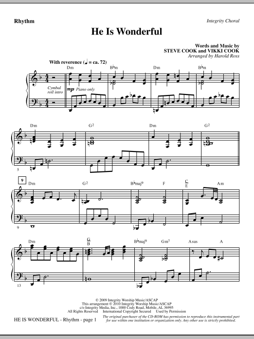 Harold Ross He Is Wonderful - Rhythm sheet music notes and chords. Download Printable PDF.