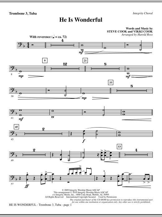 Harold Ross He Is Wonderful - Trombone 3/Tuba sheet music notes and chords. Download Printable PDF.