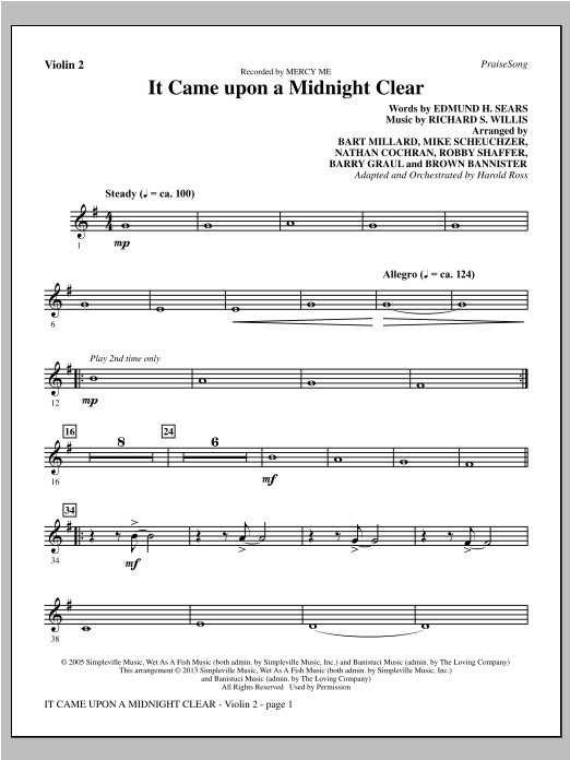 Harold Ross It Came Upon A Midnight Clear - Violin 2 sheet music notes and chords. Download Printable PDF.