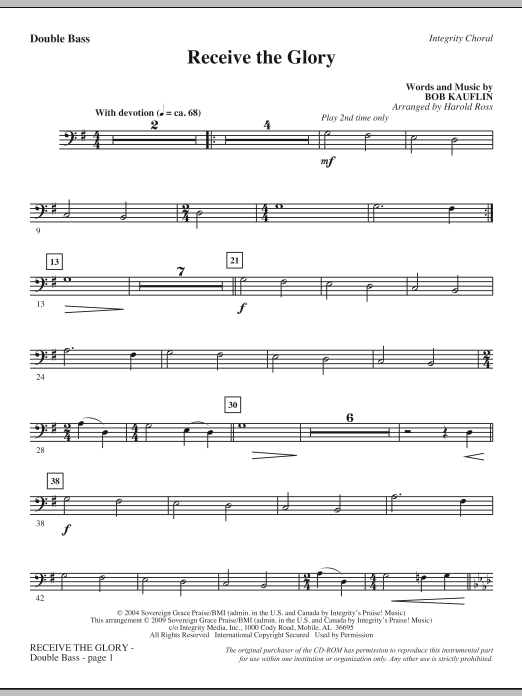 Harold Ross Receive The Glory - Double Bass sheet music notes and chords. Download Printable PDF.