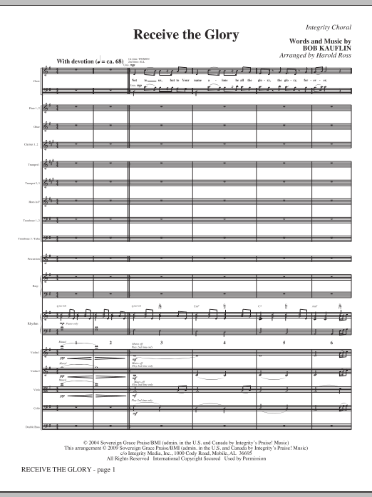 Harold Ross Receive The Glory - Full Score sheet music notes and chords. Download Printable PDF.