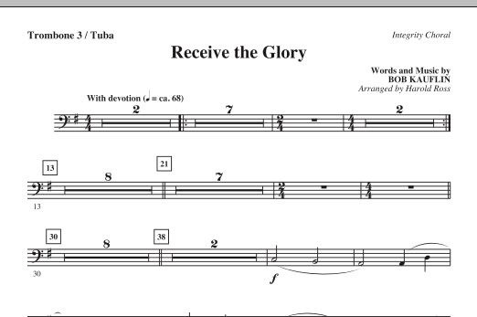 Harold Ross Receive The Glory - Trombone 3/Tuba sheet music notes and chords. Download Printable PDF.