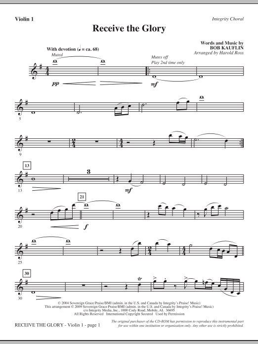 Harold Ross Receive The Glory - Violin 1 sheet music notes and chords. Download Printable PDF.