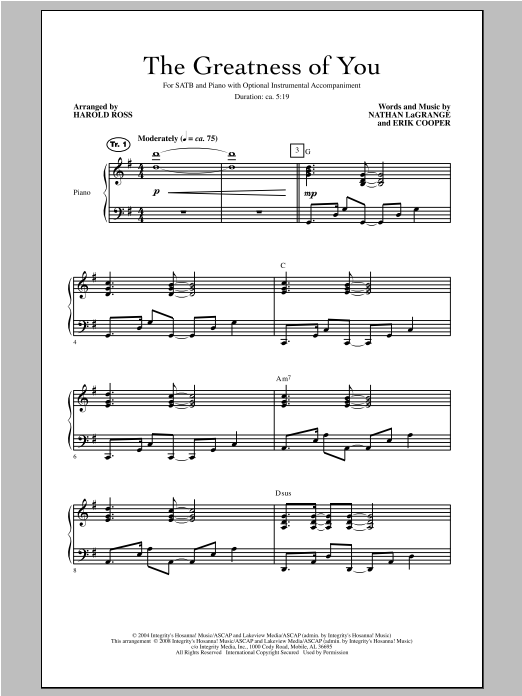 Harold Ross The Greatness Of You sheet music notes and chords. Download Printable PDF.