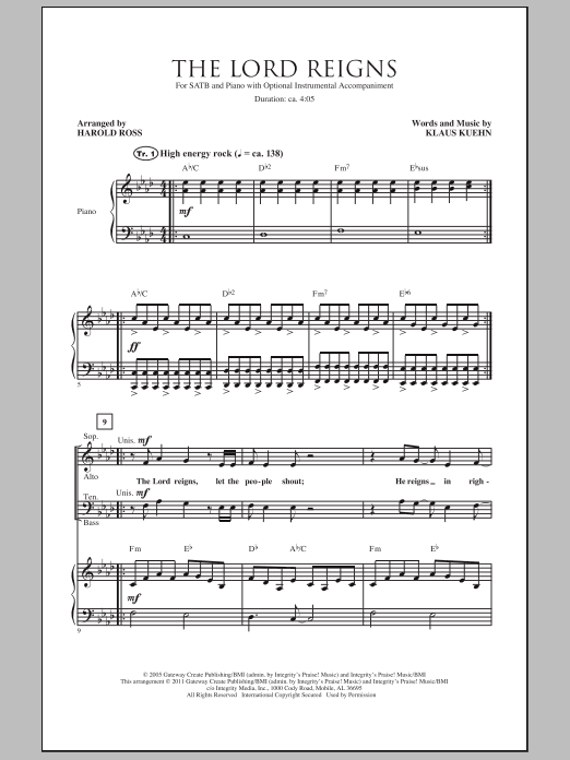Harold Ross The Lord Reigns sheet music notes and chords. Download Printable PDF.