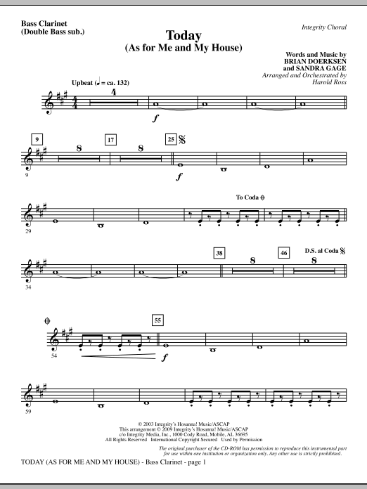 Harold Ross Today (As For Me And My House) - Bass Clarinet (sub. dbl bass) sheet music notes and chords. Download Printable PDF.
