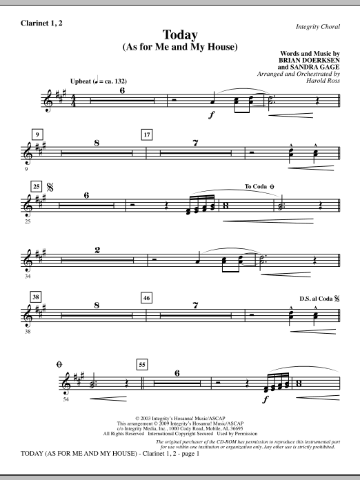 Harold Ross Today (As For Me And My House) - Clarinet 1 & 2 sheet music notes and chords. Download Printable PDF.