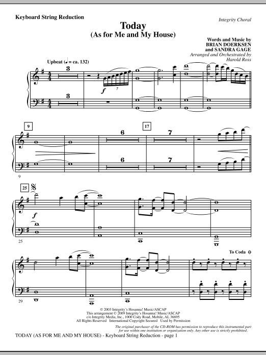 Harold Ross Today (As For Me And My House) - Keyboard String Reduction sheet music notes and chords. Download Printable PDF.