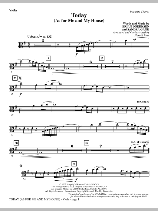 Harold Ross Today (As For Me And My House) - Viola sheet music notes and chords. Download Printable PDF.