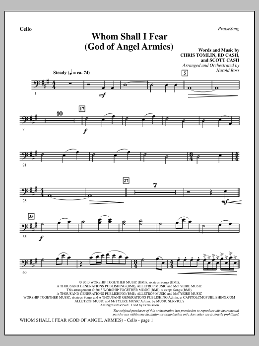 Harold Ross Whom Shall I Fear (God of Angel Armies) - Cello sheet music notes and chords. Download Printable PDF.