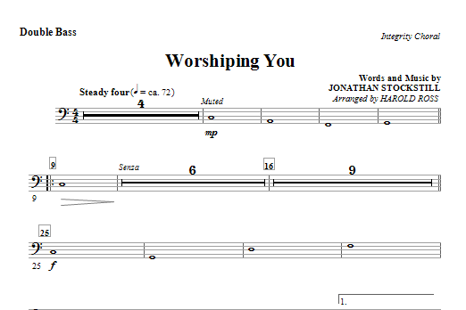 Harold Ross Worshiping You - Double Bass sheet music notes and chords. Download Printable PDF.