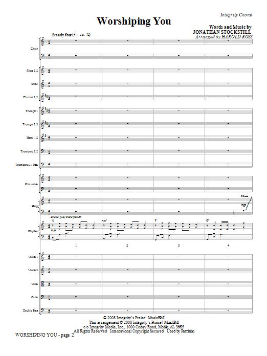 Harold Ross Worshiping You - Full Score sheet music notes and chords. Download Printable PDF.