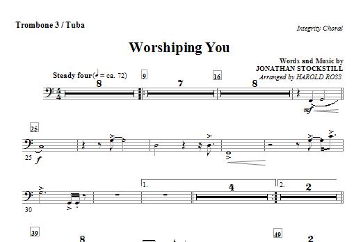 Harold Ross Worshiping You - Trombone 3/Tuba sheet music notes and chords. Download Printable PDF.