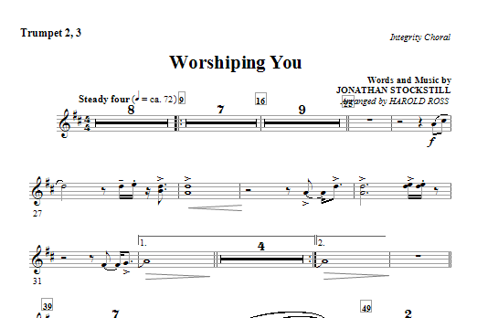 Harold Ross Worshiping You - Trumpet 2 & 3 sheet music notes and chords. Download Printable PDF.