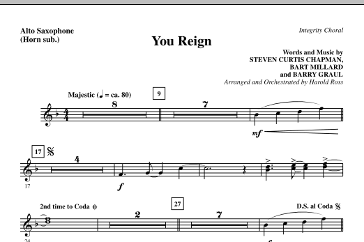 Harold Ross You Reign - Alto Sax (sub. Horn) sheet music notes and chords. Download Printable PDF.