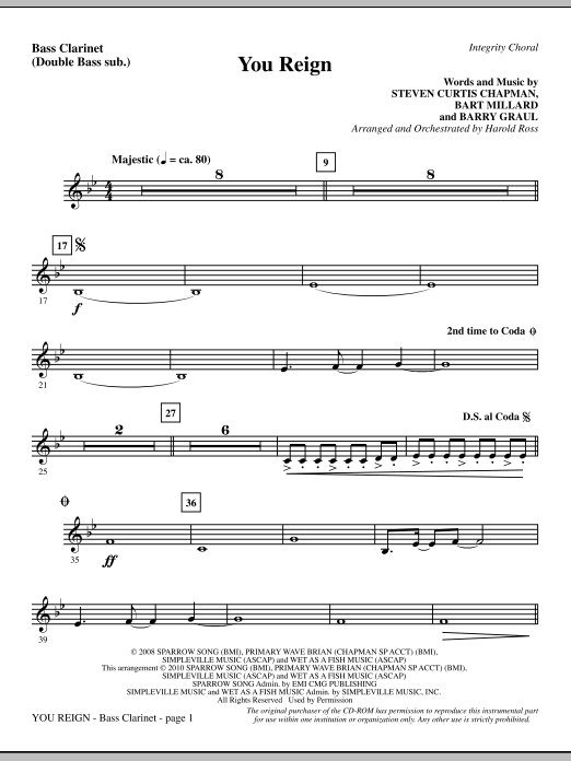 Harold Ross You Reign - Bass Clarinet (sub. dbl bass) sheet music notes and chords. Download Printable PDF.