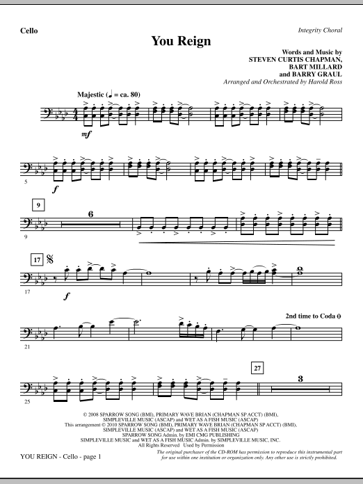 Harold Ross You Reign - Cello sheet music notes and chords. Download Printable PDF.