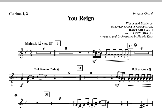 Harold Ross You Reign - Clarinet 1 & 2 sheet music notes and chords. Download Printable PDF.