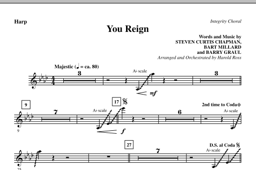 Harold Ross You Reign - Harp sheet music notes and chords. Download Printable PDF.