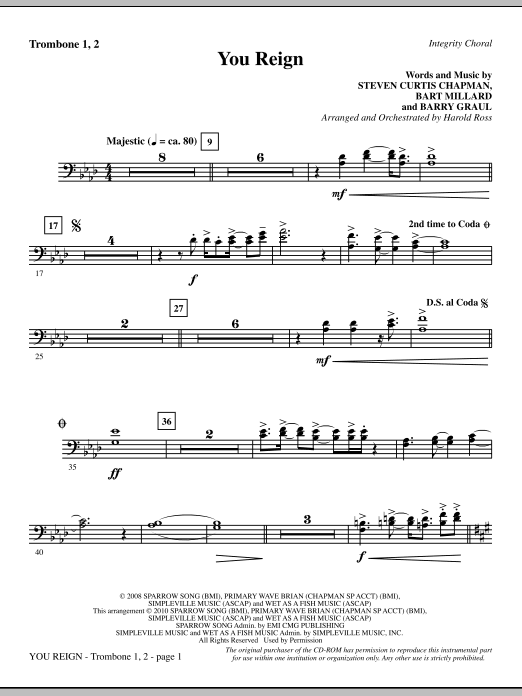 Harold Ross You Reign - Trombone 1 & 2 sheet music notes and chords. Download Printable PDF.