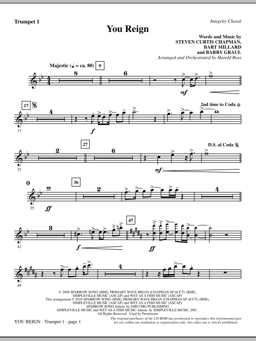 Harold Ross You Reign - Trumpet 1 sheet music notes and chords. Download Printable PDF.