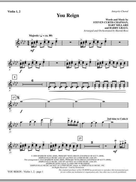 Harold Ross You Reign - Violin 1, 2 sheet music notes and chords. Download Printable PDF.