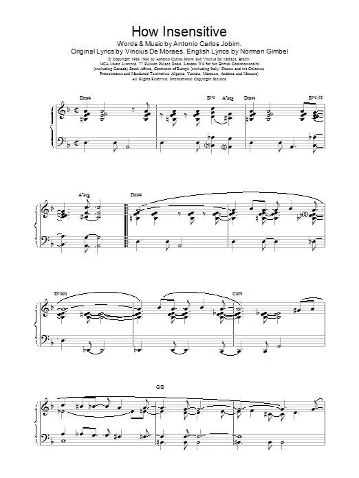 Barry Harris How Insensitive sheet music notes and chords. Download Printable PDF.