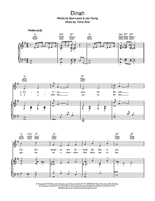 Harry Akst Dinah sheet music notes and chords. Download Printable PDF.