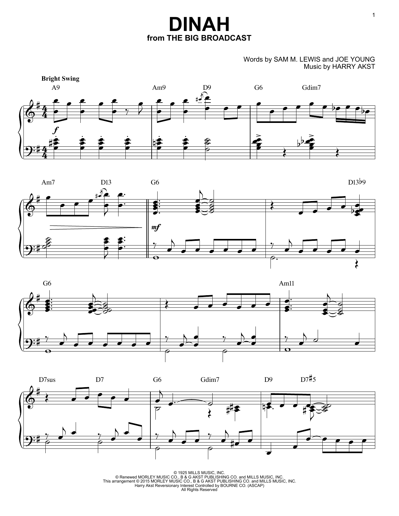Harry Akst Dinah [Stride version] (arr. Brent Edstrom) sheet music notes and chords. Download Printable PDF.