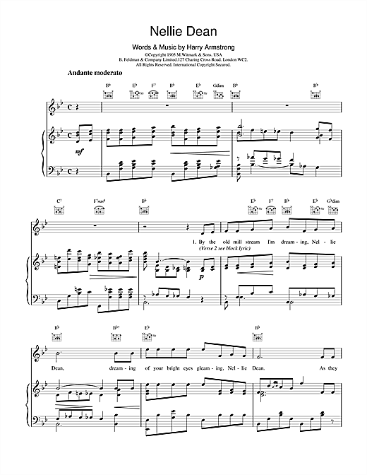 Harry Armstrong Nellie Dean sheet music notes and chords