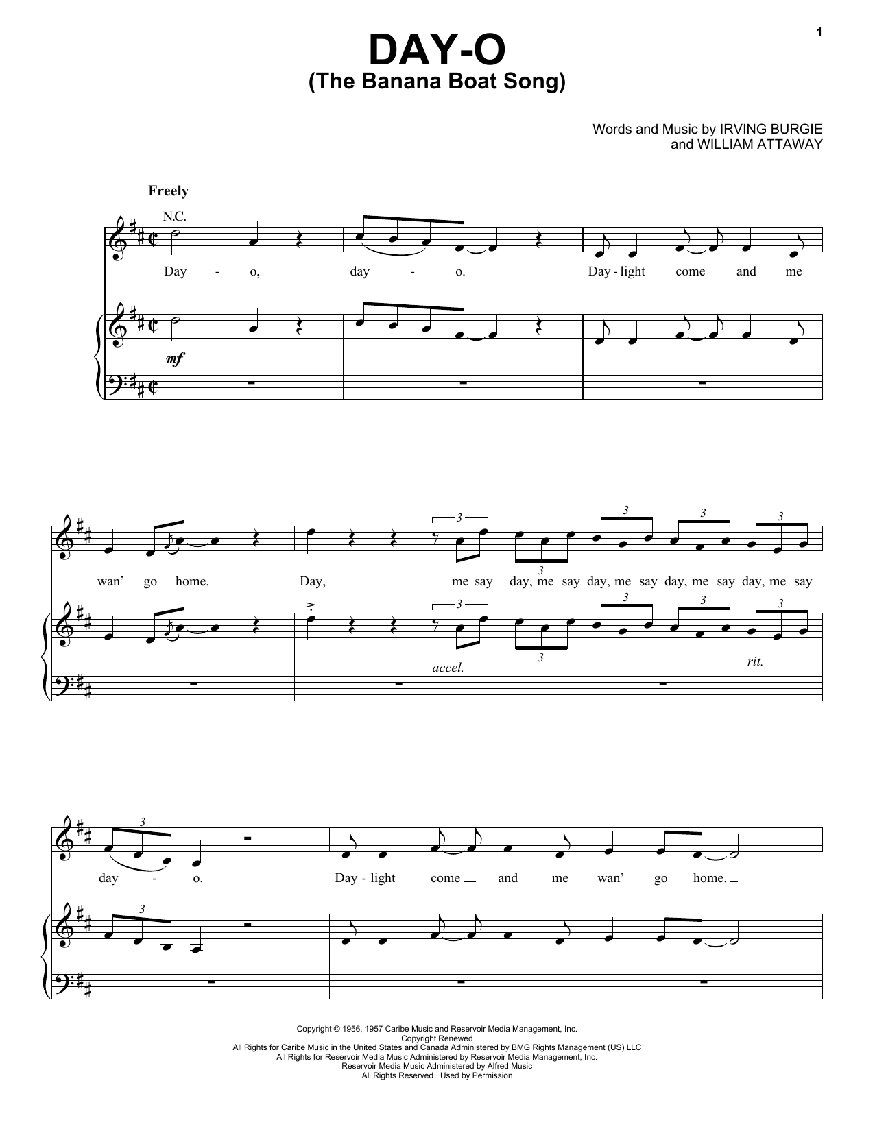 Harry Belafonte Day-O (The Banana Boat Song) sheet music notes and chords. Download Printable PDF.
