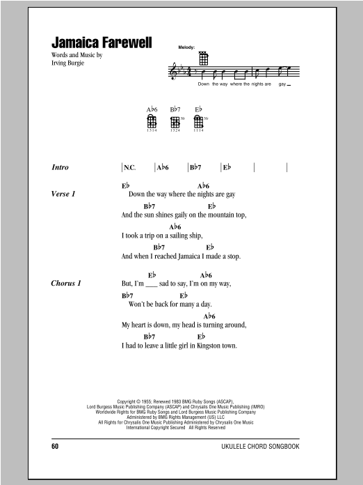 Harry Belafonte Jamaica Farewell sheet music notes and chords. Download Printable PDF.