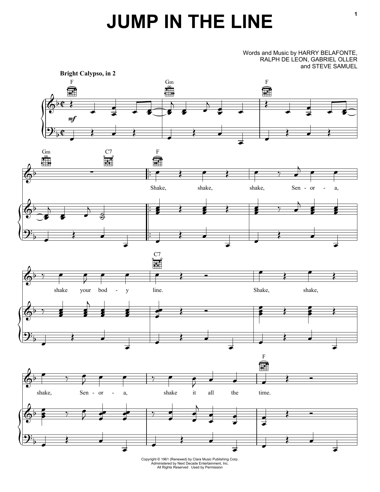 Harry Belafonte Jump In The Line Sheet Music Pdf Notes Chords Film Tv Score Piano Vocal Guitar Right Hand Melody Download Printable Sku 372908