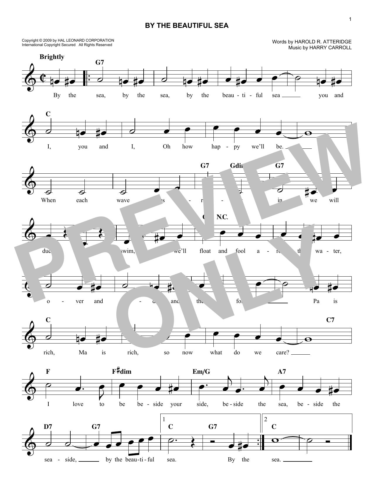 Harry Carroll By The Beautiful Sea sheet music notes and chords. Download Printable PDF.