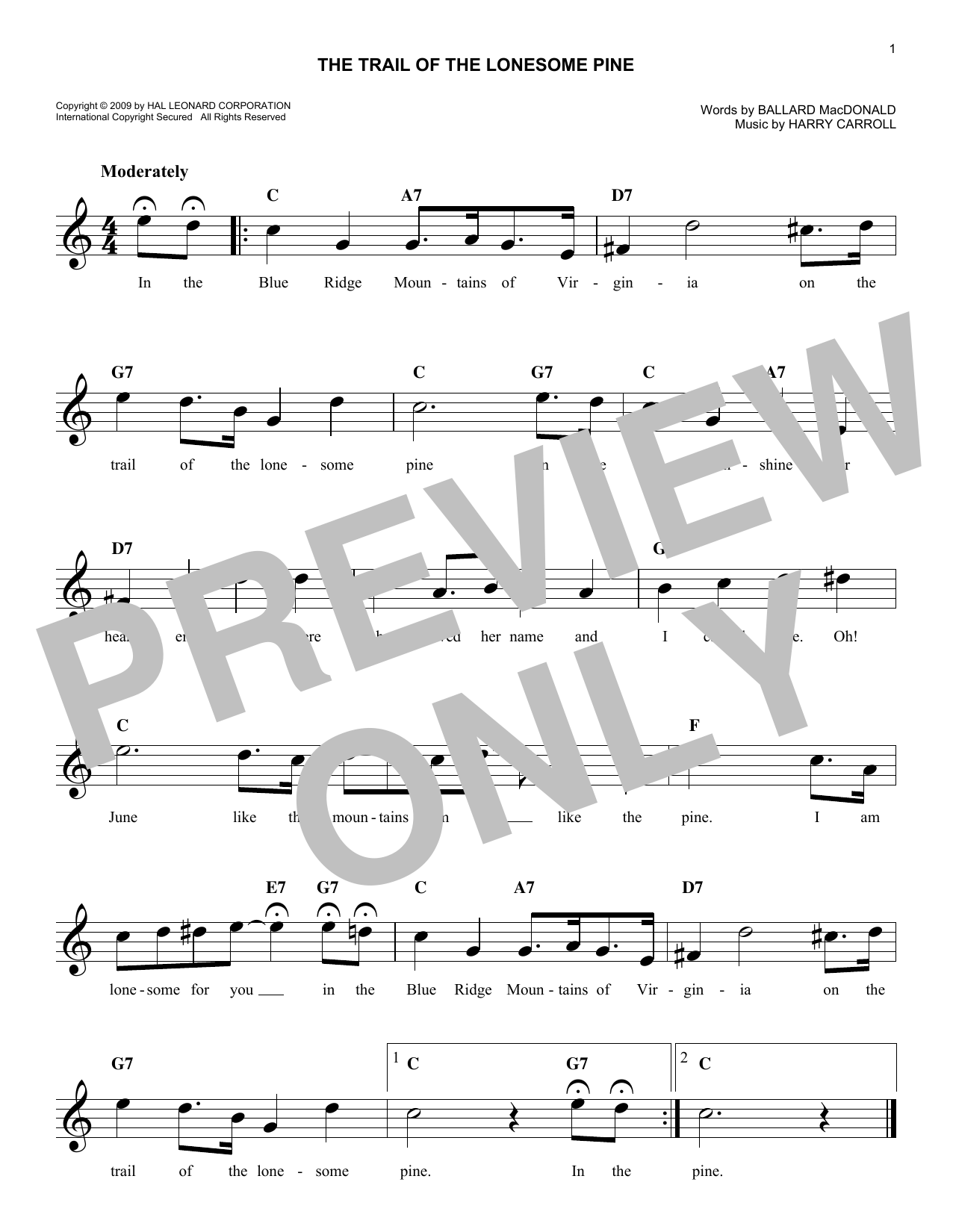 Harry Carroll The Trail Of The Lonesome Pine sheet music notes and chords. Download Printable PDF.