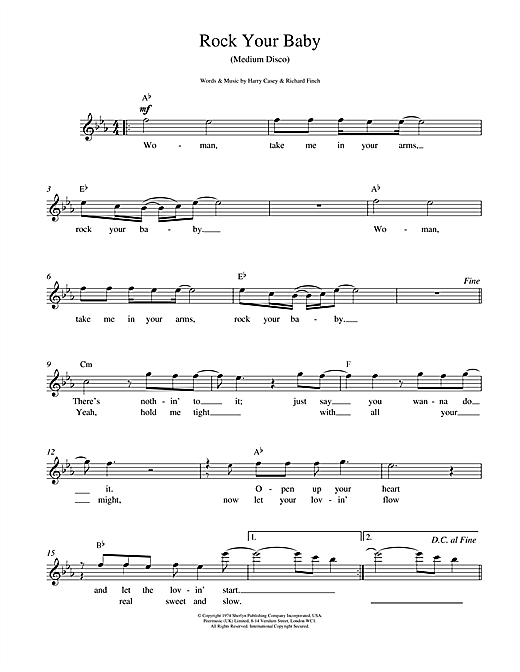 Harry Casey And Richard Finch Rock Your Baby sheet music notes and chords. Download Printable PDF.