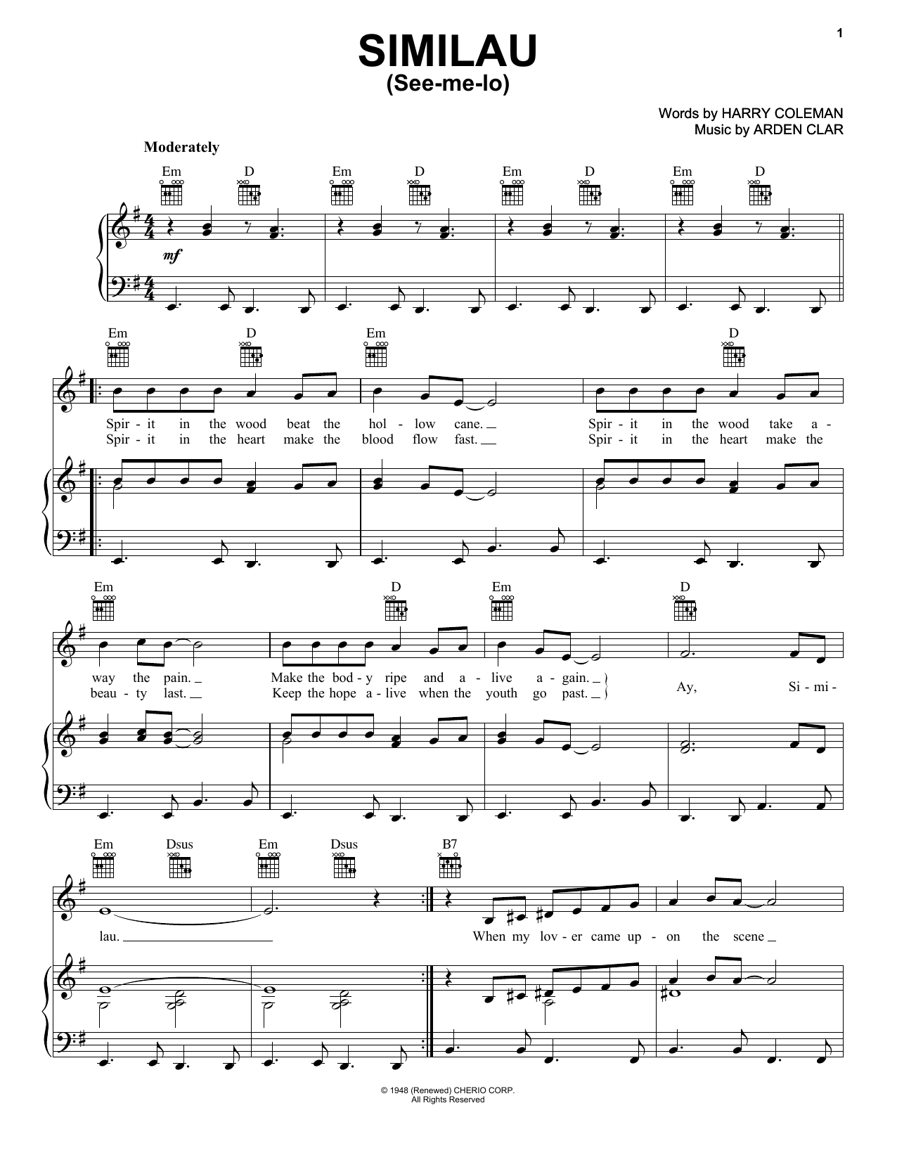 Harry Coleman Similau (See-me-lo) sheet music notes and chords. Download Printable PDF.