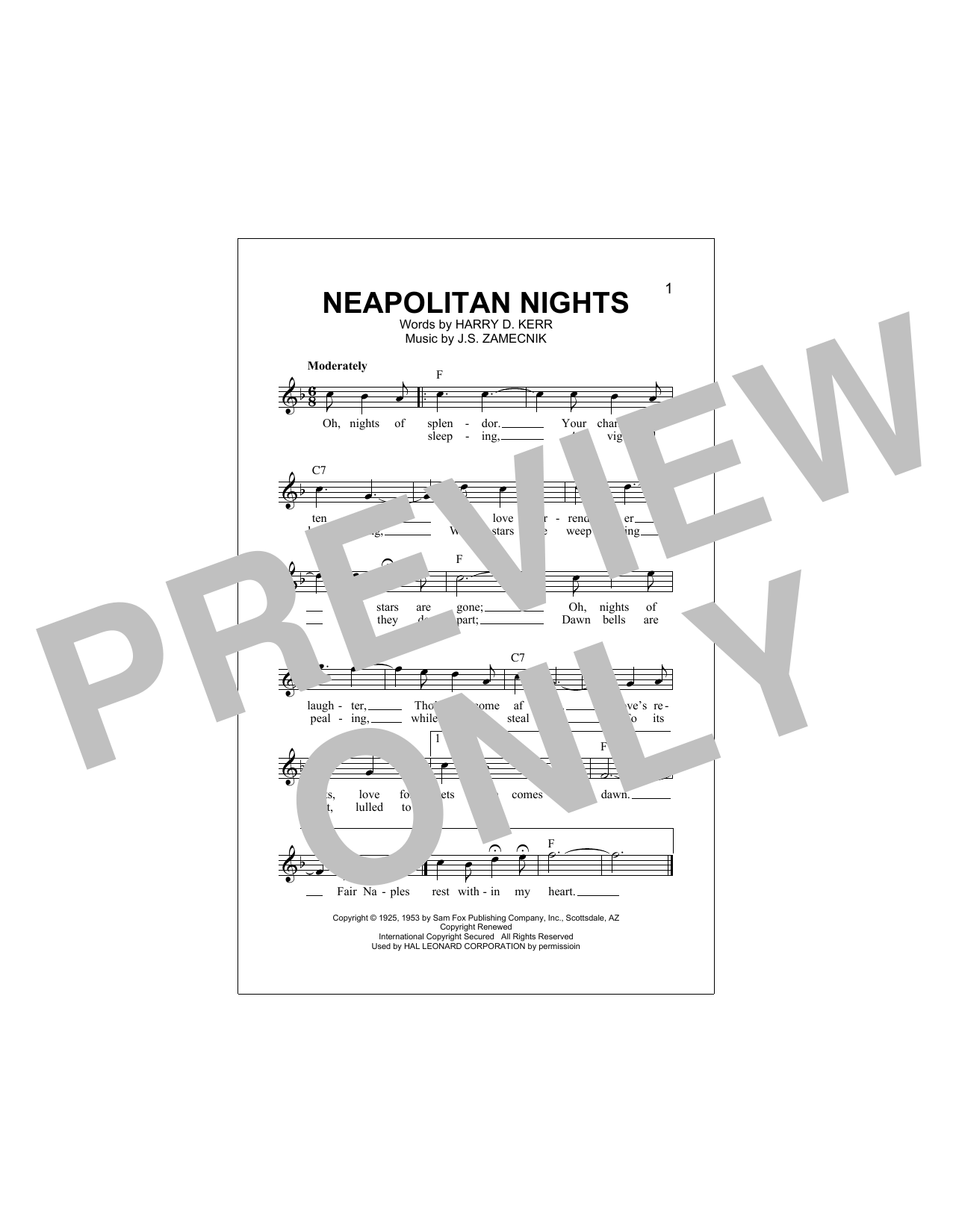 Harry D. Kerr Neapolitan Nights sheet music notes and chords. Download Printable PDF.
