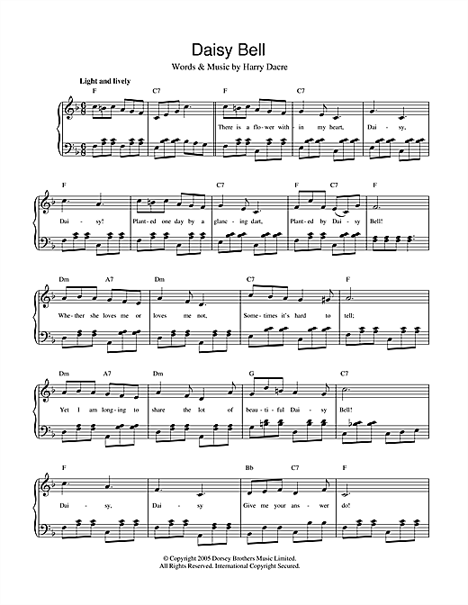 Harry Dacre Daisy Bell sheet music notes and chords. Download Printable PDF.