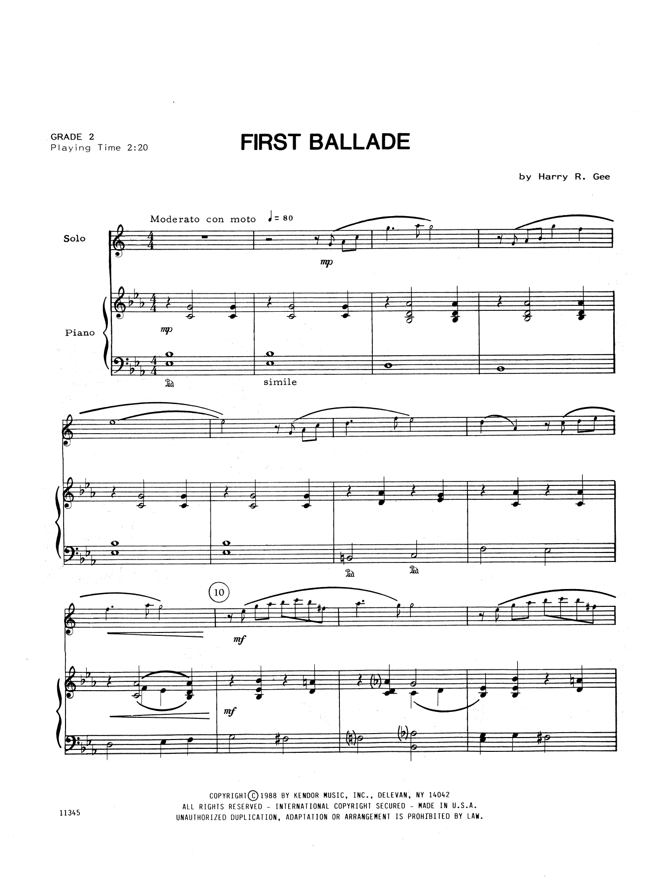 Harry Gee First Ballade - Piano Accompaniment sheet music notes and chords. Download Printable PDF.