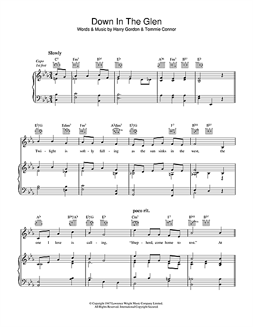 Harry Gordon Down In The Glen sheet music notes and chords. Download Printable PDF.
