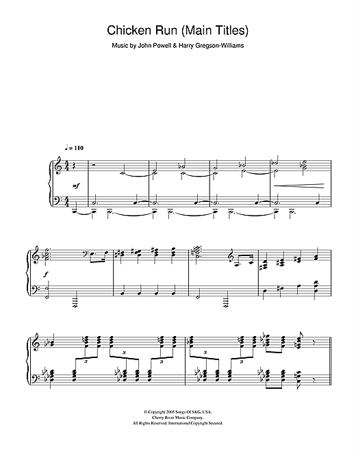 Harry Gregson-Williams Chicken Run (Main Titles) sheet music notes and chords