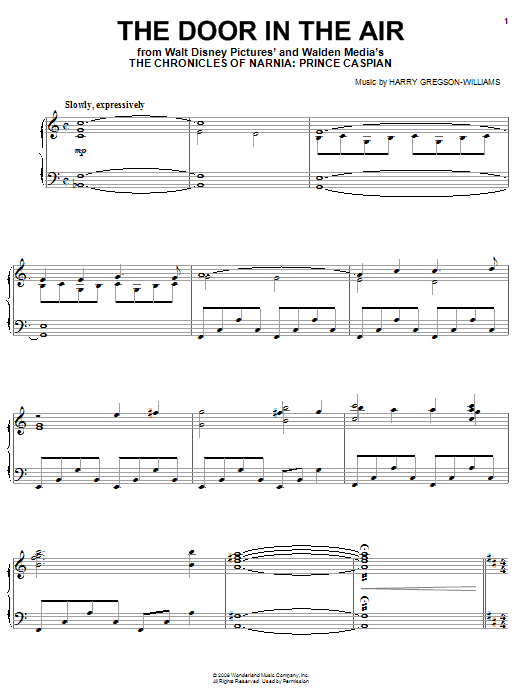 Harry Gregson-Williams The Door In The Air sheet music notes and chords