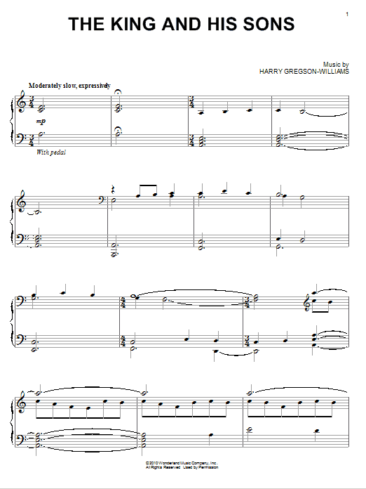 Harry Gregson-Williams The King And His Sons sheet music notes and chords. Download Printable PDF.