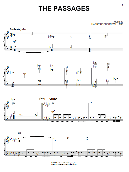 Harry Gregson-Williams The Passages sheet music notes and chords