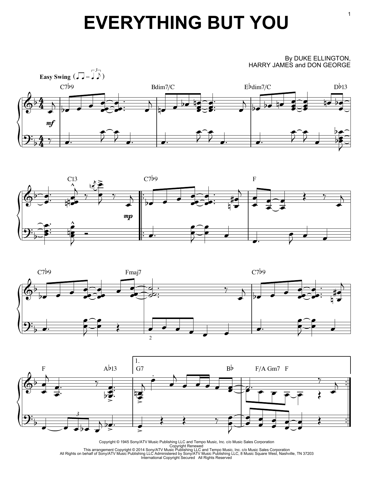 Harry James Everything But You sheet music notes and chords. Download Printable PDF.