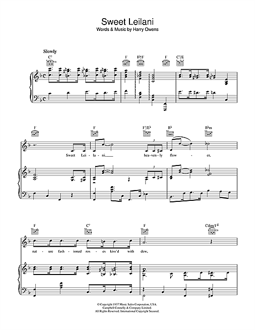 Harry Owens Sweet Leilani sheet music notes and chords. Download Printable PDF.